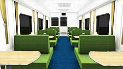 Restaurant car in the new carriages (Photo from the State Railway of Thailand)