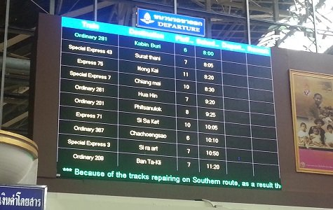 Display board showing train departures from Bangkok Train Station