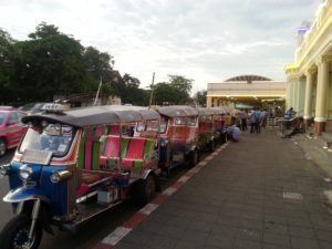 There are always lots of tuk tuks waiting outside the train station