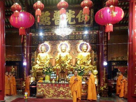 Shrine Hall at Wat Mangkon in Bangkok