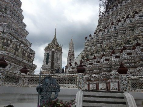 Ceramic tiles cover the chedi of Wat Arun in Bangkok