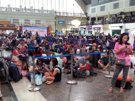 Waiting for a train before Songkran