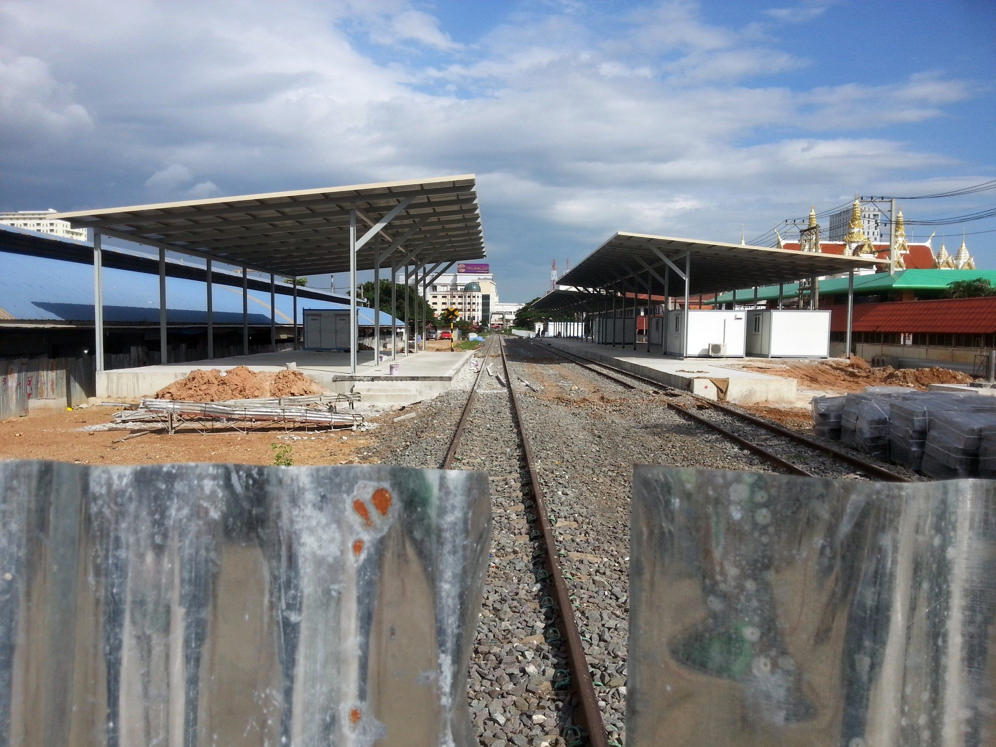 Train station at the Thailand-Cambodia border under construction
