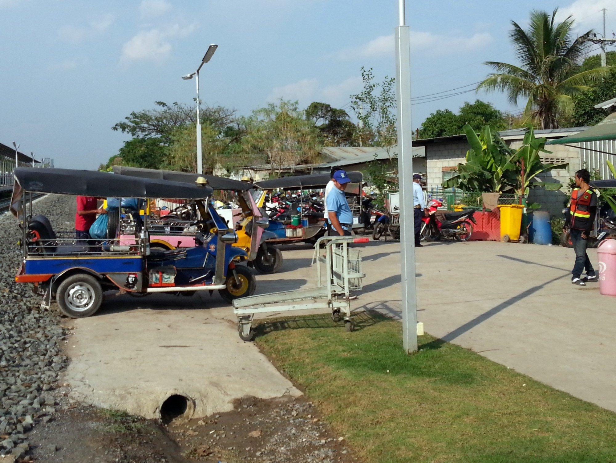 Tuk-tuks at Khon Kaen Temporary Railway Station