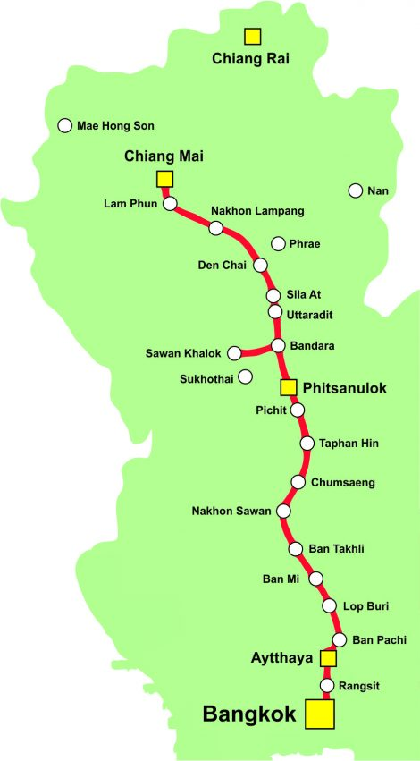 Thailand Railway Map Northern Line