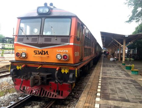 Train at Surat Thani Railway Station