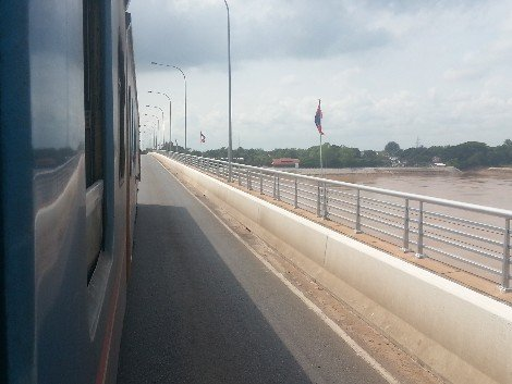 Train crossing the Thai-Lao Friendship Bridge at Nong Khai