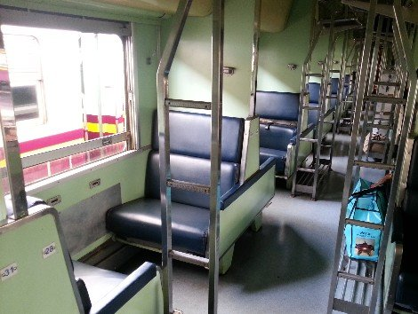 2nd Class fan sleeper carriage on a Thailand Train