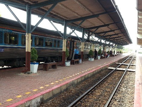 Train arriving into Nakhon Sawan