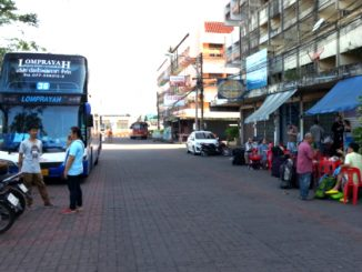 Coach services waiting outside Surat Thani Railway Station