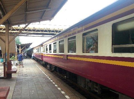 Train arriving at Surat Thani Railway Station